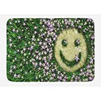 Garden Bath Mat, Smiley Emoticon on The Grass with Spring Flowers Happy Humorous Meadow Print, Plush Bathroom Decor Mat with Non Slip Backing, 23.6 W X 15.7 W Inches, Lavander Green