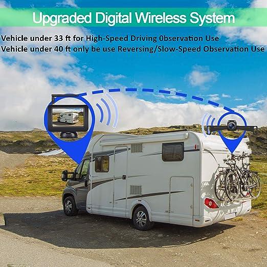 LeeKooLuu - Cámara de seguridad digital inalámbrica y kit de monitor para RV/coche/remolque/camión/autocaravana sistema de observación de alta velocidad delantera/lateral/visión trasera conducción/marcha atrás impermeable guía de visión nocturna con ...