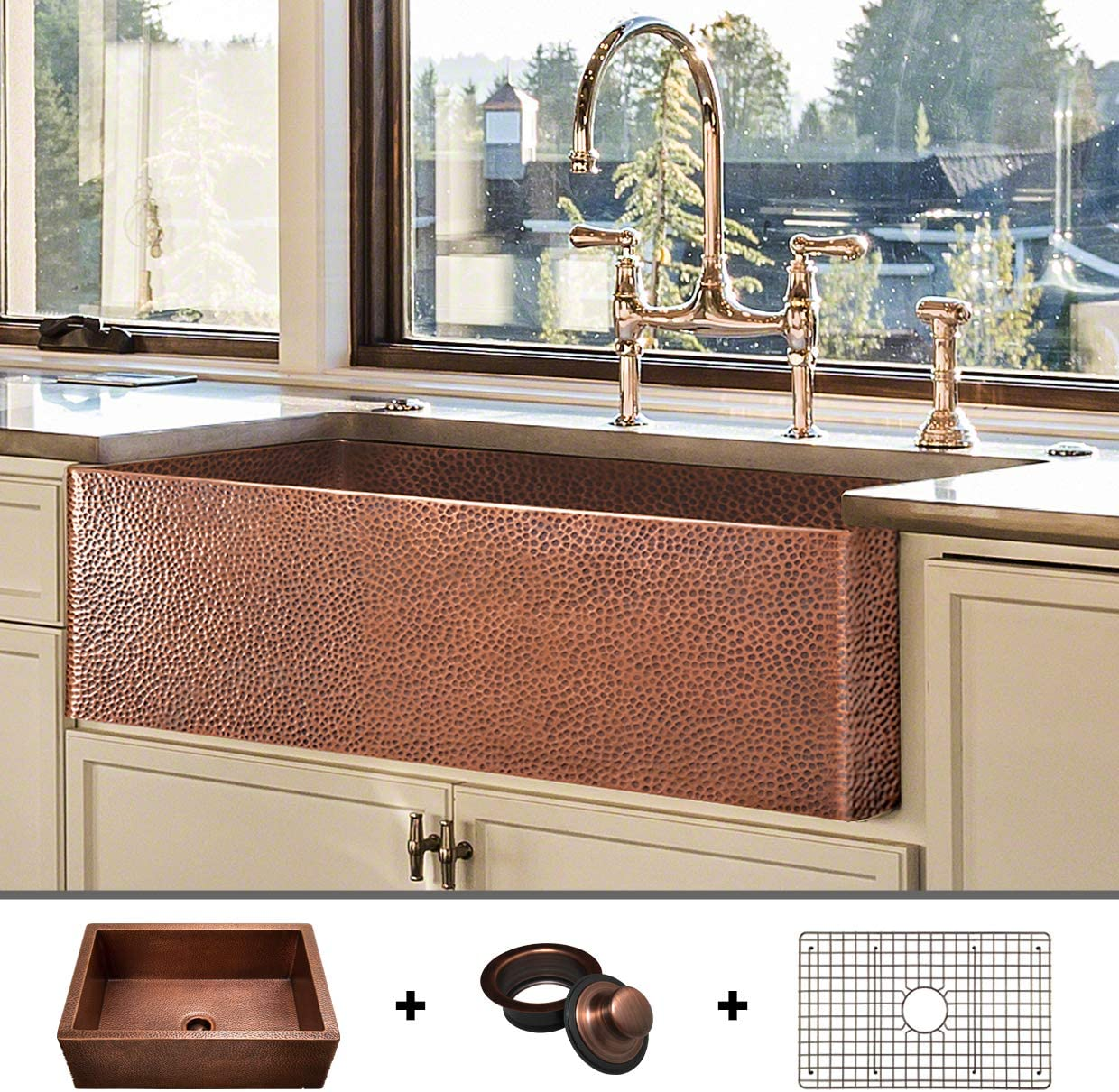 HEAVY-GAUGE 12-Gauge Luxury 33-Inch Modern Copper Farmhouse Sink 52.6 LBS Pure Copper , Apron Front, Single Bowl, Antique Copper Finish, Grid and Flange Included, FSW1105 by Fossil Blu