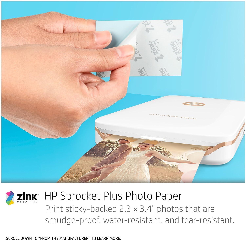 Print Social Media Photos on 2x3 Sticky-Backed Paper HP Sprocket Portable Photo Printer Black X7N08A
