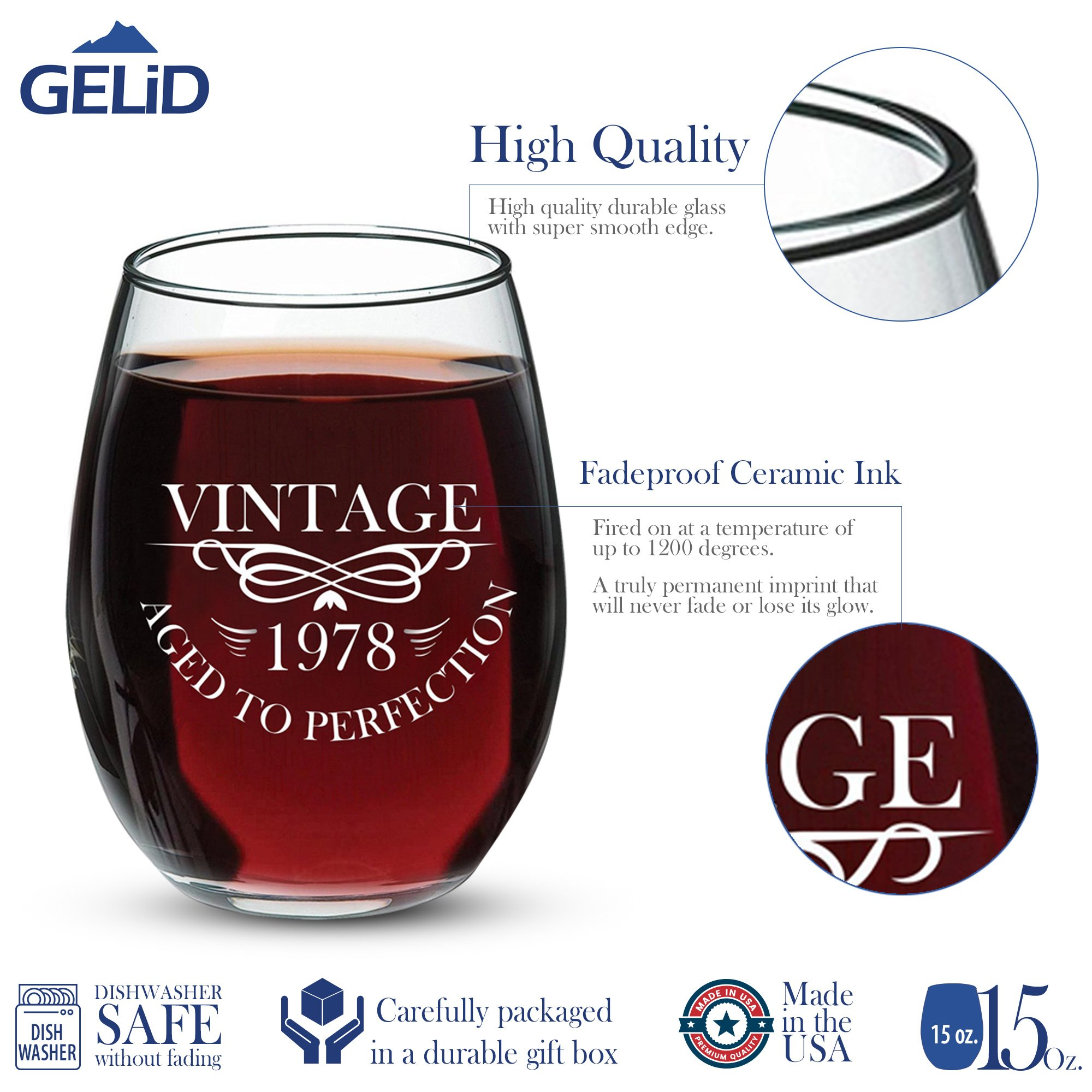 1978 40th Birthday Gifts for Women and Men Wine Glass - Funny Vintage Anniversary Gift Ideas for Mom, Dad, Husband or Wife - 15 oz Glasses for Red or White Wine - Party Decorations for Him or Her by Gelid (Image #2)