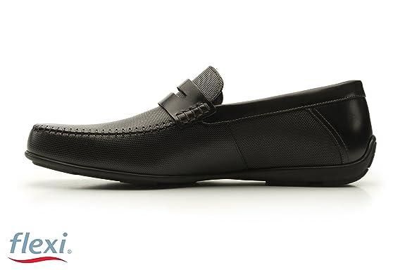 Flexi Shoes Mocasines de Piel Para Hombre Negro Negro 40 EU, Color Negro, Talla 40 EU: Amazon.es: Zapatos y complementos