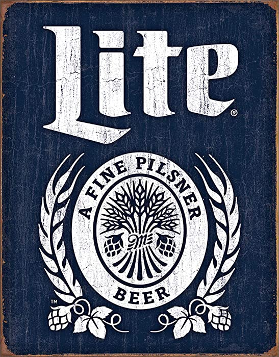 "Desperate Enterprises Miller Lite Bottle Logo Tin Sign, 16"" W x 12.5"" H"