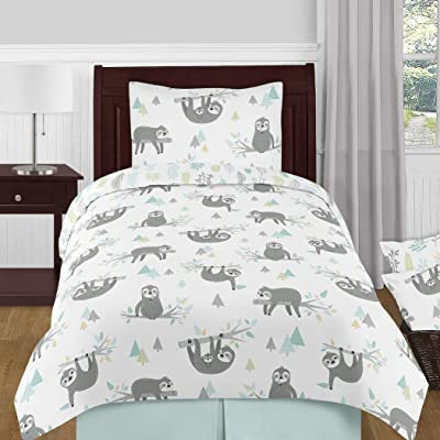 Sweet Jojo Designs Blue and Grey Jungle Sloth Leaf Unisex Boy or Girl Twin Size Kid Childrens Bedding Comforter Set - 4 Pieces - Turquoise, Gray and Green Tropical Botanical Rainforest: Home & Kitchen