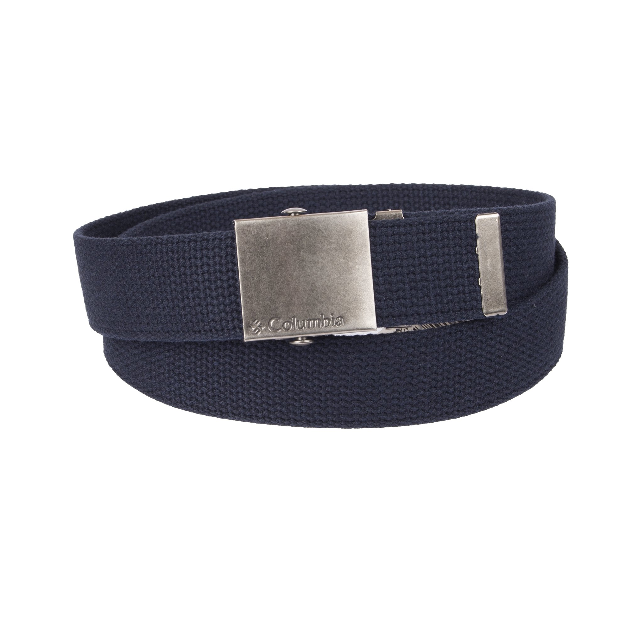 Columbia Men's Military Web Belt - Casual for Jeans Adjustable One Size Cotton Strap and Metal Plaque Buckle,Navy,One Size