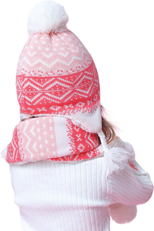 Bambine Cappello Sciarpa Guanti Lavorato a Maglia 3 Pezzi Set Foderato in Pile Inverno Bimba Ragazze 0-8 Anni Caldo Cotone Beanie Fazzoletto da Collo Manopole Muffola Boho