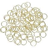 Hotop 100 Pack Hair Rings Braid Rings Hair Loop Clips Hair Accessories (Gold)