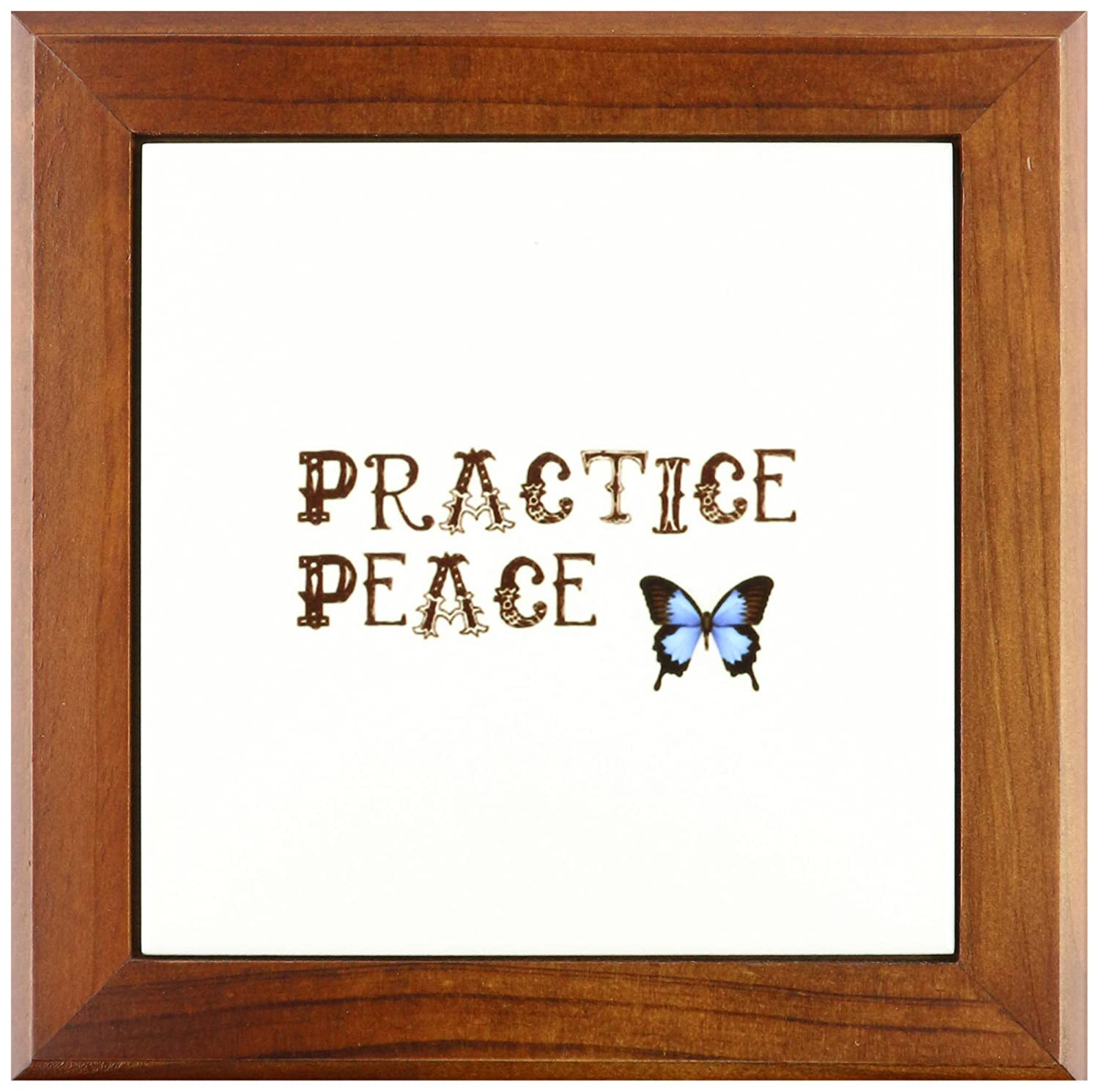 3dRose ft/_30466/_1 Practice Peace Butterfly Awareness and Spirituality-Framed Tile 8 by 8-Inch