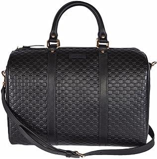 5d5546989d9 Gucci Women s Leather Micro GG Guccissima Convertible Boston Satchel Handbag  (Black)