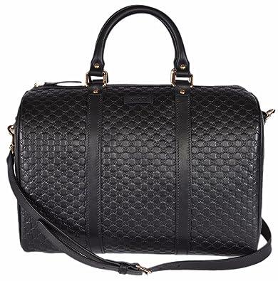 Gucci Women s Leather Micro GG Guccissima Convertible Boston Satchel Handbag  (Black) 1a323b9b51418