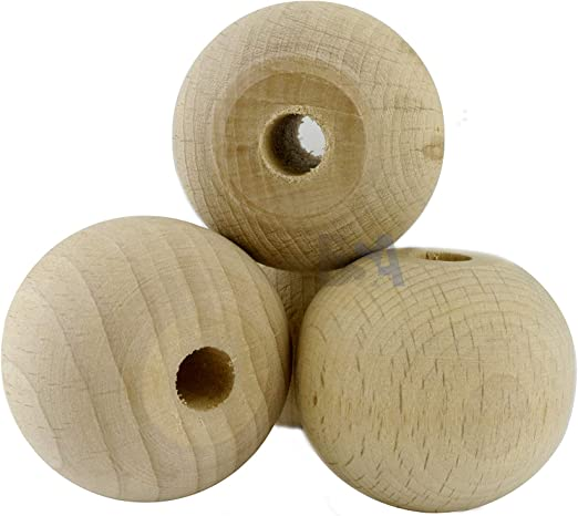 For Forest 20 Holzkugeln 40 mm mit Bohrung 8 mm Holzkugeln 40 mm Lochung 8 mm Naturfarbe Grezzo Kugelb/älle Nicht lackiert.