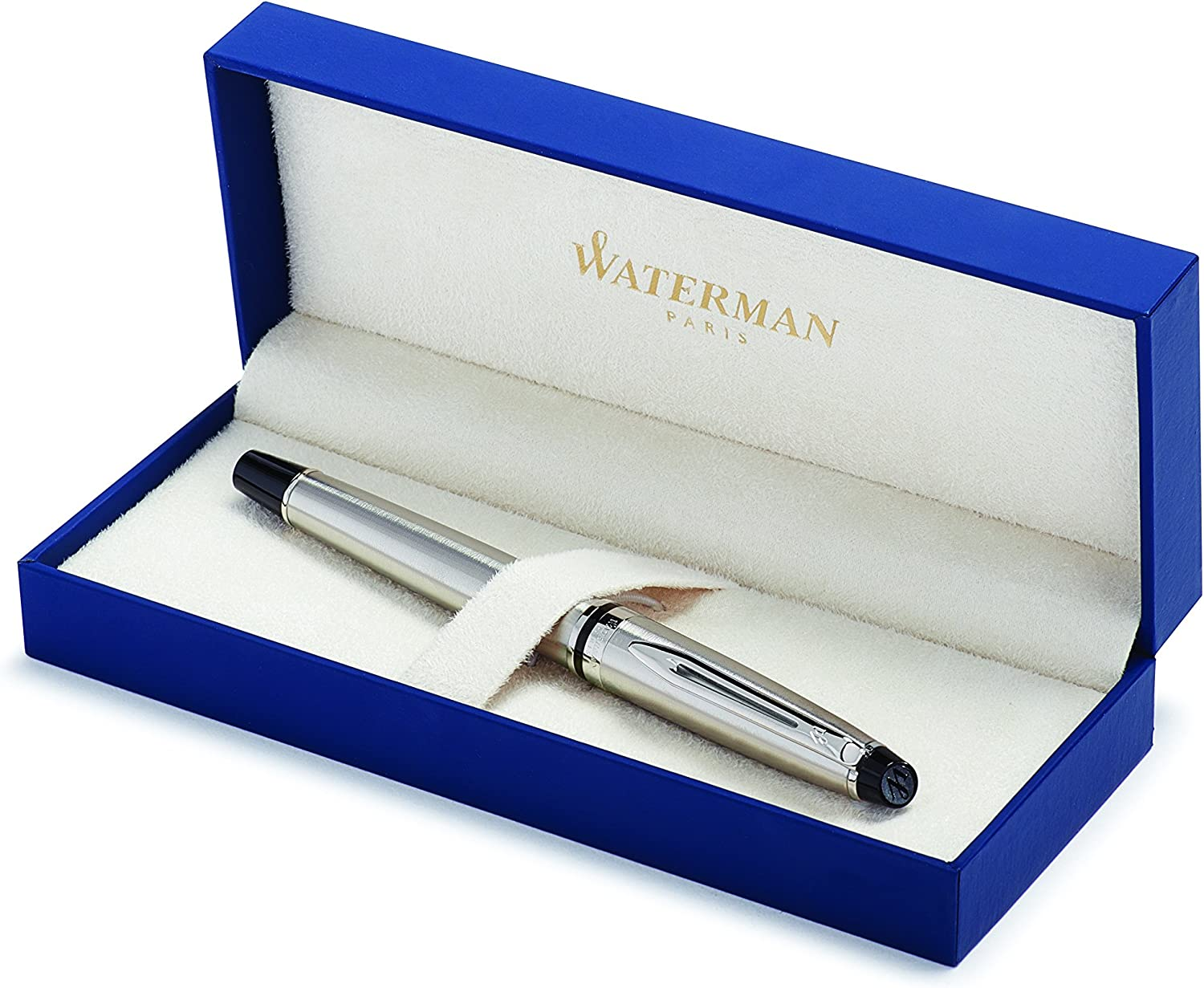 Waterman Expert Rollerball Pen, Stainless Steel with Chrome Trim, Fine Point with Black Ink Cartridge, Gift Box