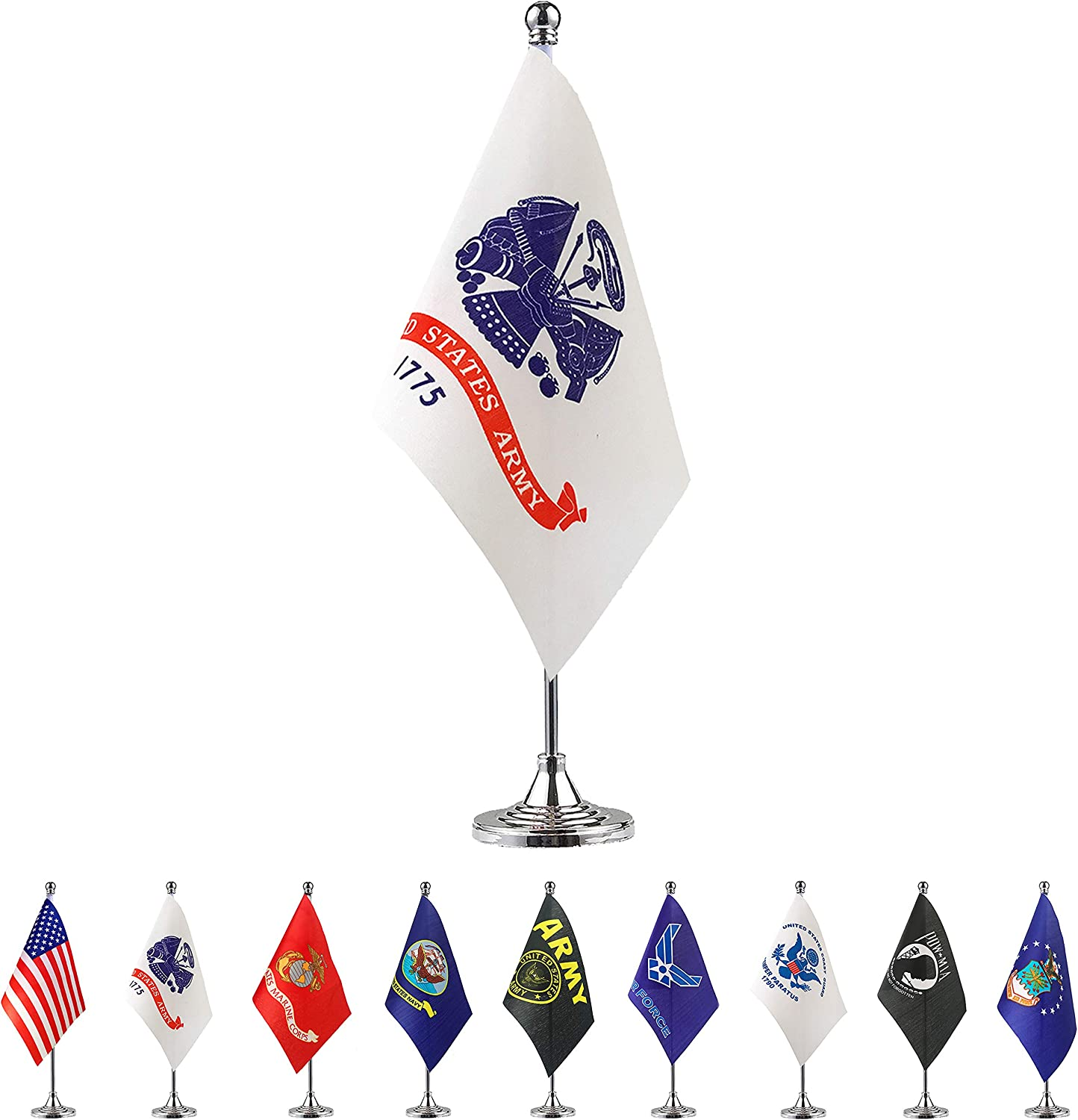 TSMD US Army Desk Flag Small Mini United States Military Table Flags with Stand Base,Decorations Supplies for Army Party Events Celebration
