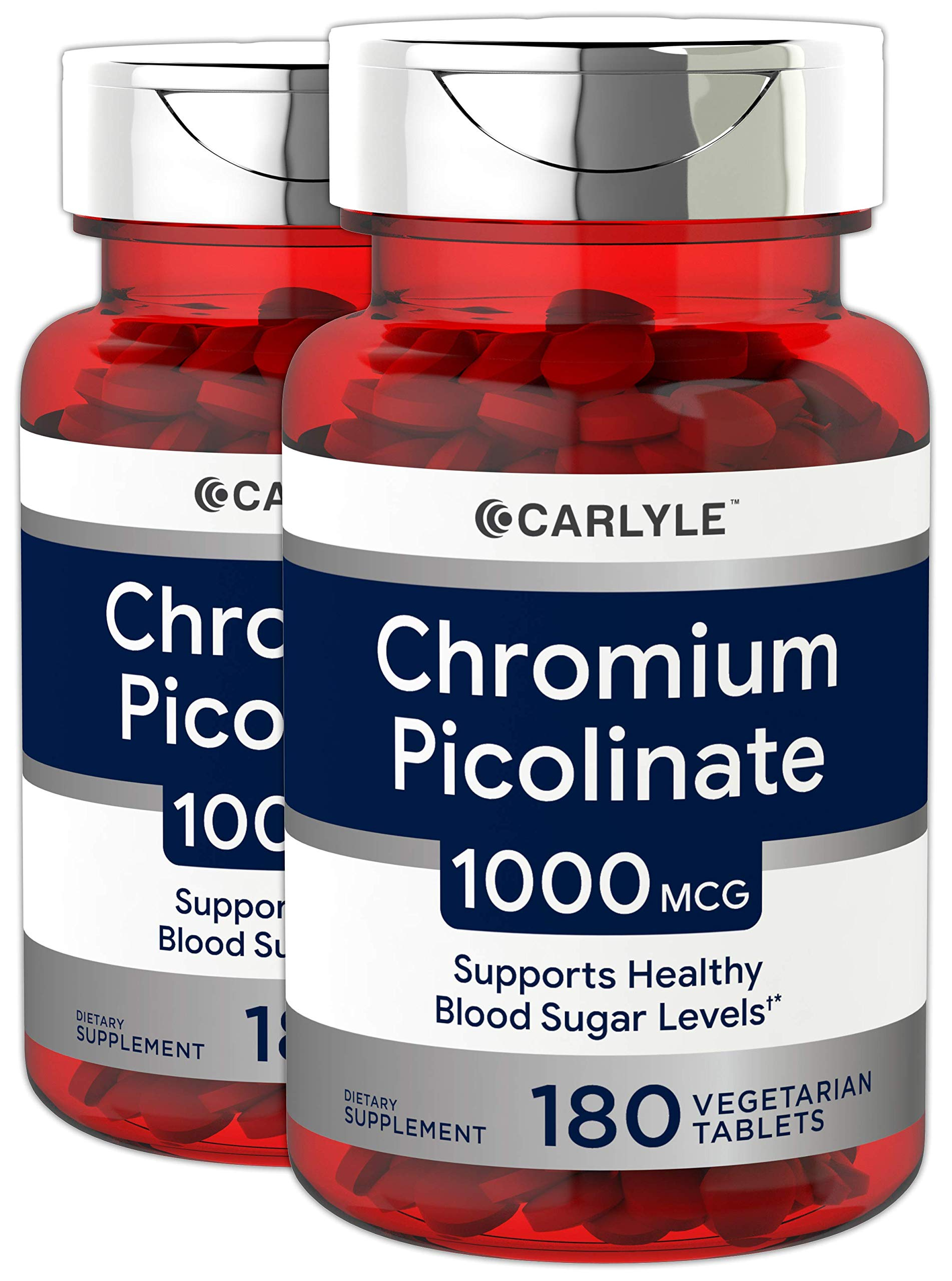Ultra Chromium Picolinate 1000mcg | 2 Pack 180 Tablets per Bottle | Supports Weight Management | Vegetarian, Non-GMO, Gluten Free | by Carlyle
