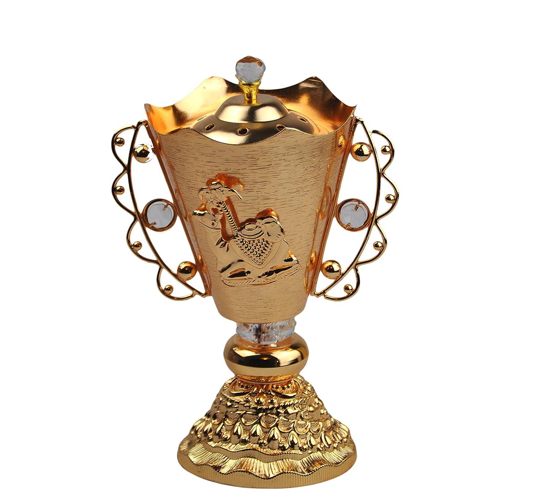 Arabia Incense / bakhoor Burner ( Mabkhara ) – Oud Burner、ゴールドメタル、トレイ内側9インチ。 – USA Seller B01KYAMW8I