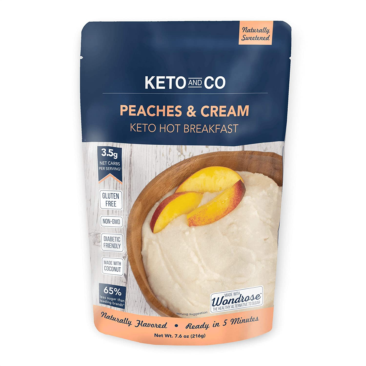 Keto Hot Breakfast by Keto and Co   Peaches and Cream Flavor   Just 3.5 Net Carbs Per Serving   Gluten Free, Low Carb, No Added Sugar, Naturally Sweetened   (8 Servings - Peaches and Cream)