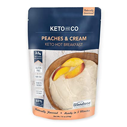 Amazon Com Keto Hot Breakfast By Keto And Co Peaches And Cream Flavor Just 3 5 Net Carbs Per Serving Gluten Free Low Carb No Added Sugar Naturally Sweetened 8 Servings Peaches And Cream
