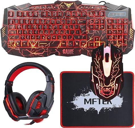 MFTEK Gaming Teclado y Ratón Negro Gaming Set 1