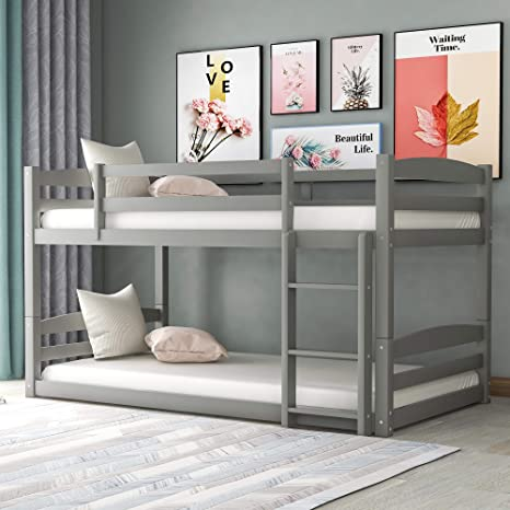 Amazon Com Twin Over Twin Bunk Bed For Kids Detachable Wood Twin Bunk Bed Frame Kitchen Dining