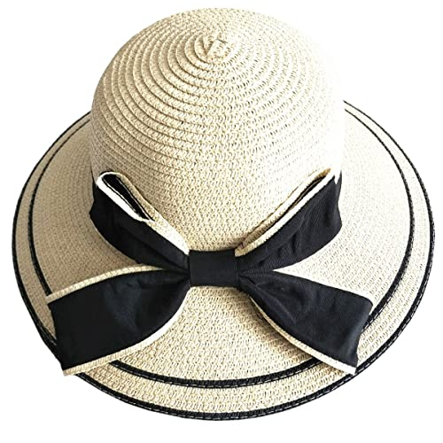 PREMYO Cappello di paglia da donna di colore naturale. Elegante cappello donna estivo a tesa larga. ...