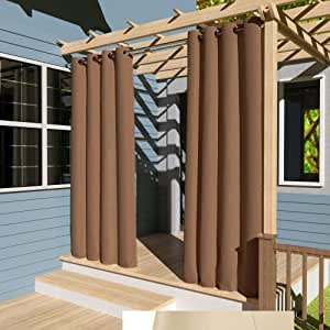 132x305cm marrón Cortinas para Exteriores con Ojales, Resistentes al Viento, Resistentes al Agua, Resistentes a la harina, para jardín, balcón, casa de Playa, vestíbulo, Cabana: Amazon.es: Jardín