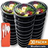 30 Round Meal Prep Containers with Bonus Plastic Cutlery Sets - Microwave / Freezer Safe Food Storage with Leakproof Lids by Prep Naturals