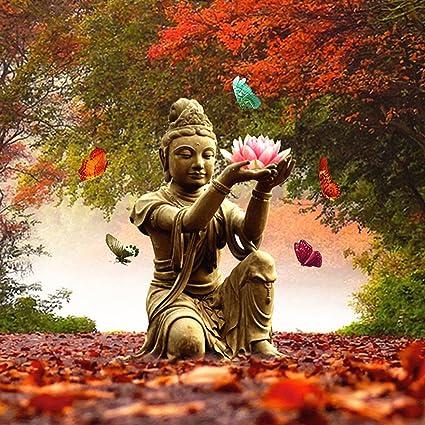 Amazon 21secret 5d full drill diamond diy painting handmade 21secret 5d full drill diamond diy painting handmade buddhism buddha with lotus flower cross stitch home mightylinksfo