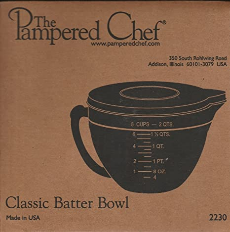 Amazon.com: PAMPERED CHEF #2431 8 CUP GLASS CLASSIC BATTER BOWL NEW ...