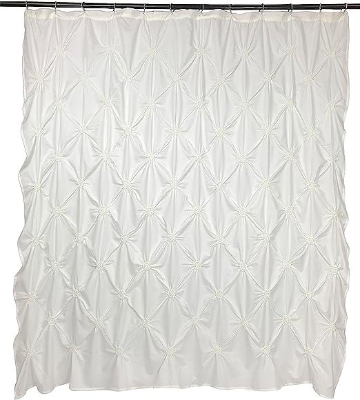 Floral Burst Solid Technique Microfiber Shower Curtain 72 x 72
