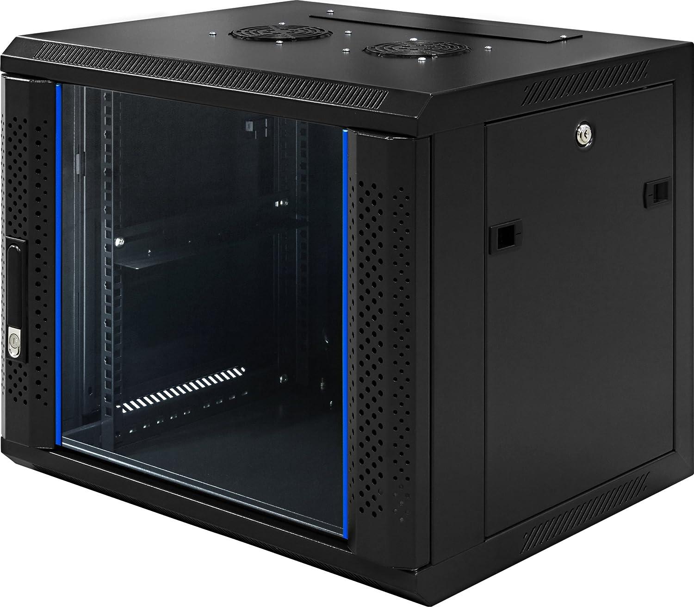 9 HE 19 Zoll - 19' Wandschrank - Serverschrank - Netzwerkschrank - mit Glastü r (BxTxH) 600x450x500mm - NEU! 19Power GmbH 19-6409