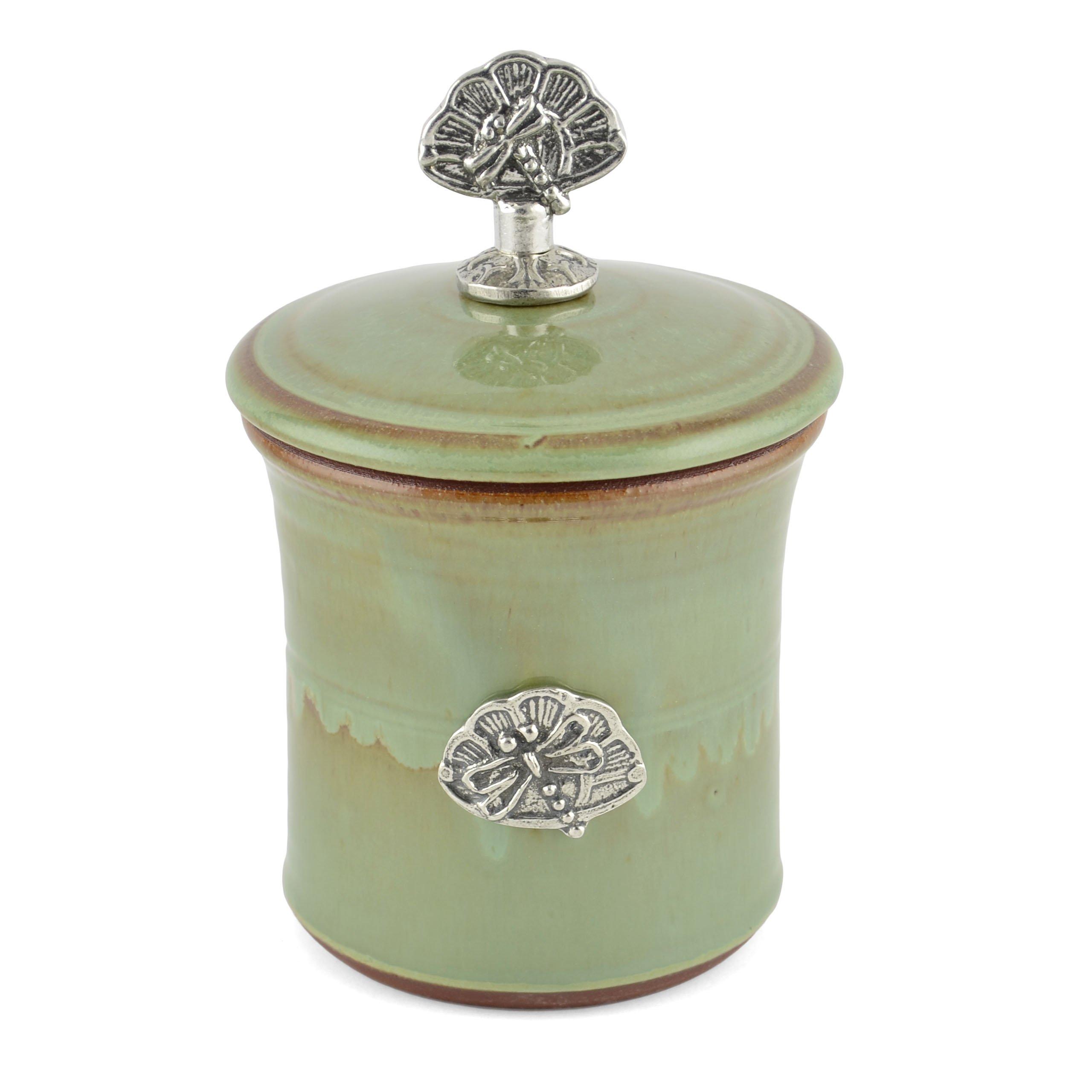 Oregon Stoneware Studio Dragonfly Garlic Pot with Pewter Finial, Pistachio by Oregon Stoneware Studio