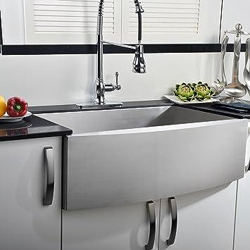 comllen 33 inch farmhouse kitchen sink 304 stainless steel single bowls 16 gauge 10 inch deep comllen 33 inch farmhouse kitchen sink 304 stainless steel single      rh   amazon com