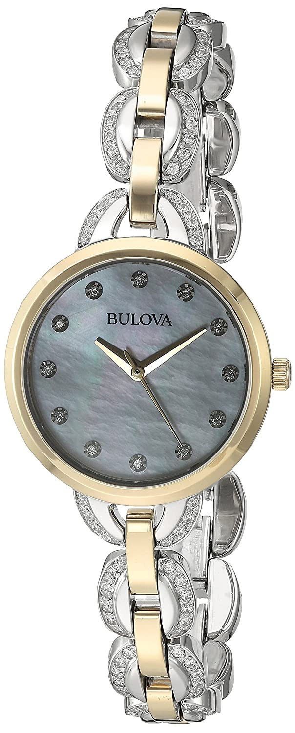 Bulova Women s Two-Tone Facets Watch with Mother of Pearl Dial
