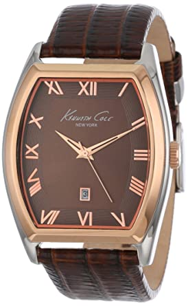 Kenneth Cole New York Mens KC1891 Classic Silver Barrel Case Rose Gold Bezel Watch