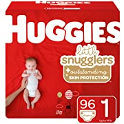 Huggies Little Snugglers Baby Diapers, Size 1 (up to 14 lb.), 96 Ct, Giga Jr Pack (Packaging May Vary)