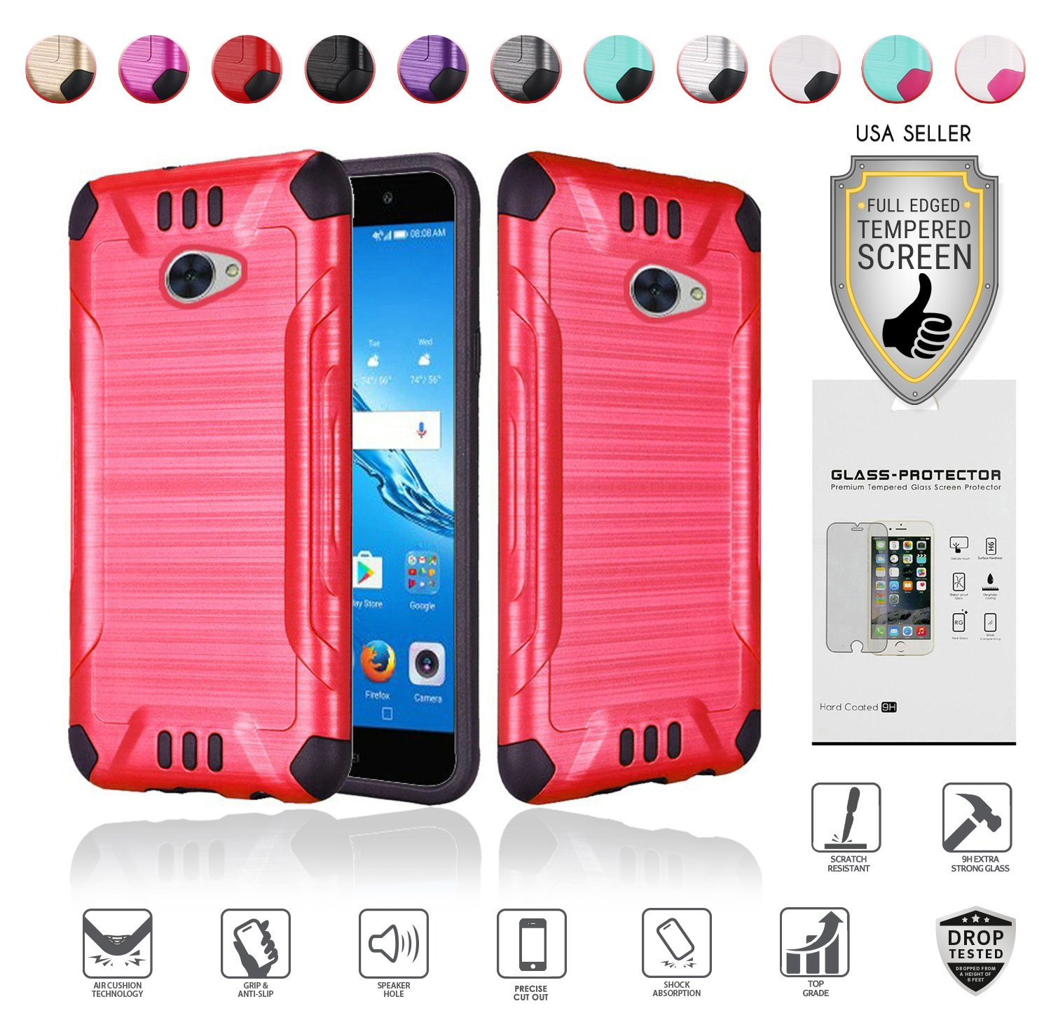 for Huawei Ascend XT2 Case with Full Glass Screen Protector (2nd Version  Only), Elate 4G Case, H1711 Case, Metallic Brushed Design Slim Hybrid