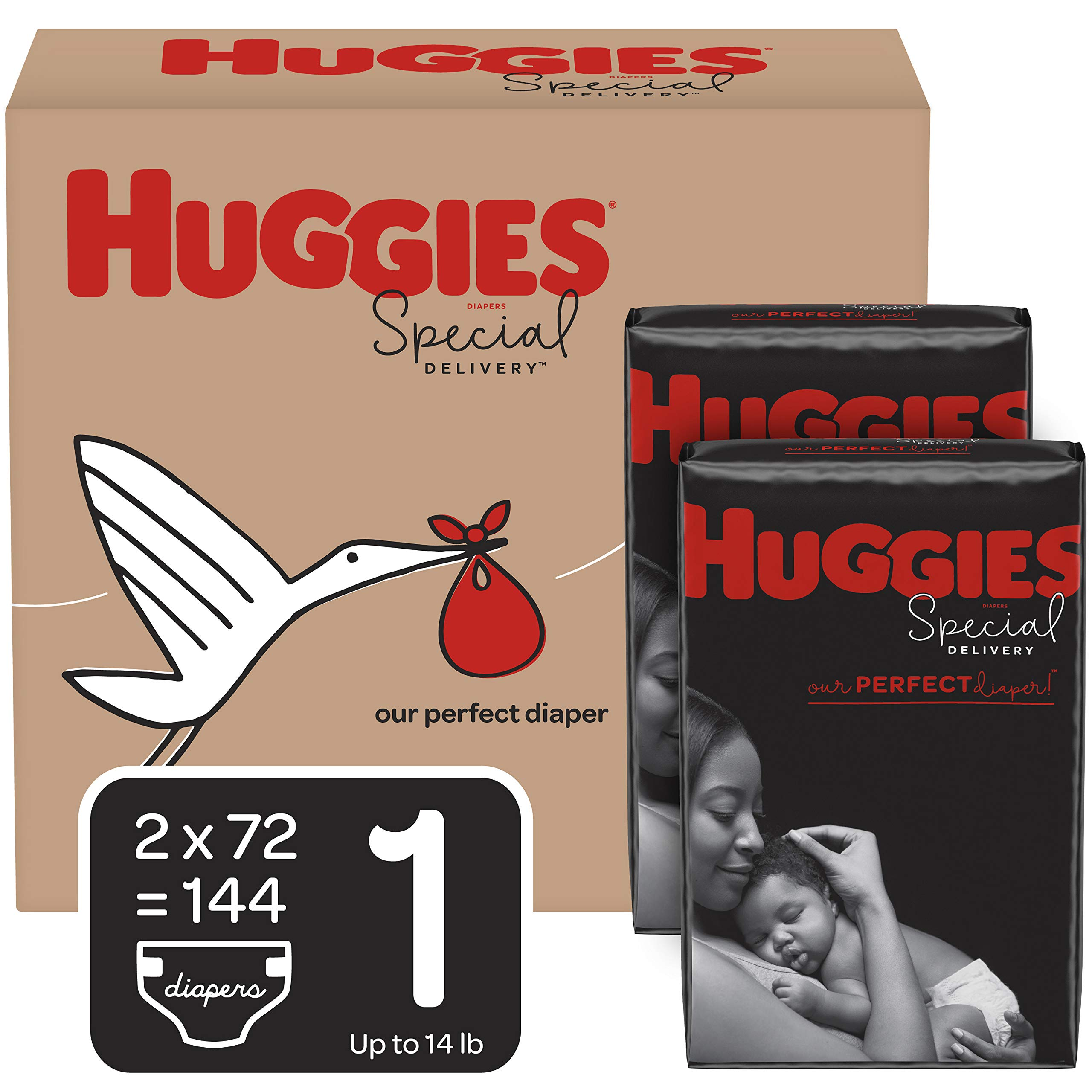 Huggies Special Delivery Hypoallergenic Diapers, Size 1 (8-14 lb.), 144 Ct, One Month Supply by HUGGIES