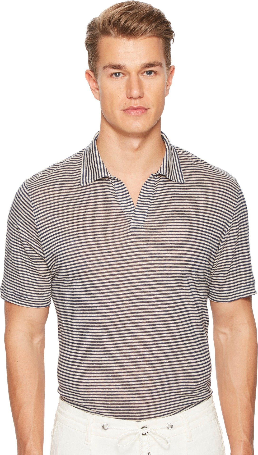 Eleventy Men's Fine Stripe Linen Polo Navy/Grey X-Large