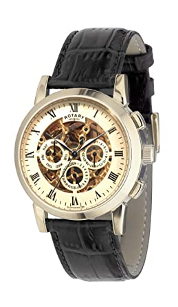 rotary men s automatic watch gold dial analogue display and rotary men s automatic watch gold dial analogue display and black leather strap gs02375 01