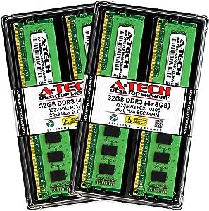 A-Tech 32GB (4x8GB) DDR3 1333MHz DIMM PC3-10600 2Rx8 Dual Rank 1.5V CL9 240-Pin Non-ECC UDIMM Desktop RAM Memory Upgrade Kit