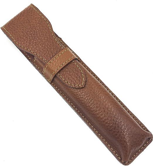Parker Safety Razor De cuero marrón de protección/Estuche de viaje para derecho, Shavette de señora y caballero maquinillas de afeitar - De Ensillar: Amazon.es: Belleza