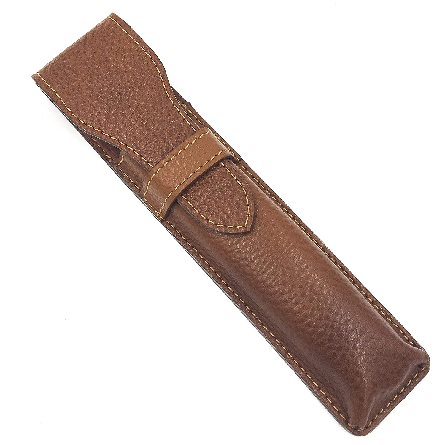 Leather Saddle Brown Protective/Travel Case for Straight, Shavette and Barber Razors - from Parker Safety Razor