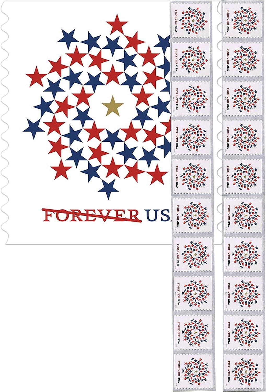 Libro patriótico en espiral de 10 sellos de primera clase de Forever USPS con estrellas de Estados Unidos, rojo y azul: Amazon.es: Juguetes y juegos