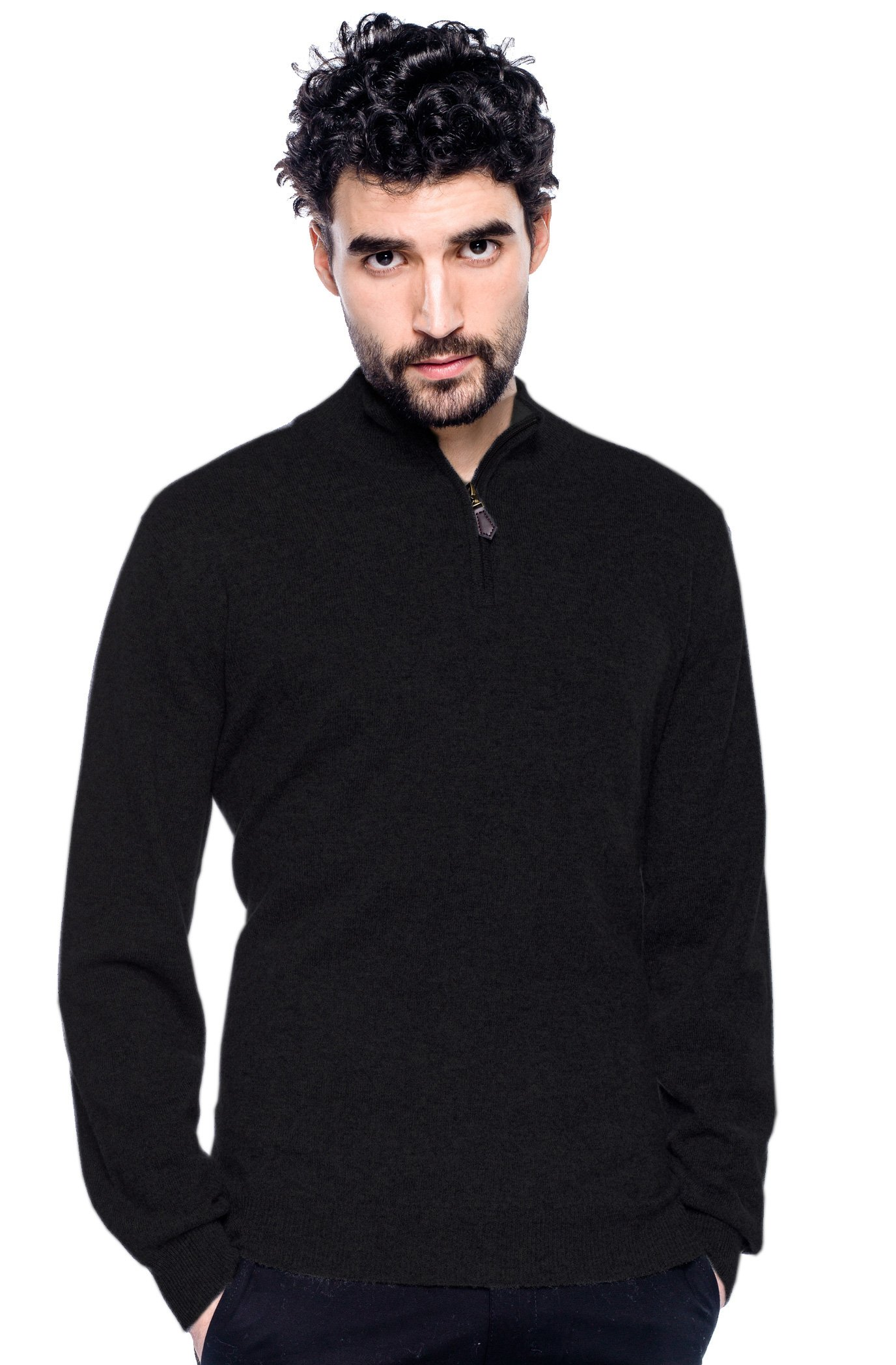 Men 100% Pure Mongolian Cashmere 1/4 Zipped Cashmere Sweater with Elbow Patches,Noir (Black) With Gris Moyen(dark Gray) Patch,Large