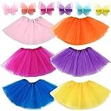 Elesa Miracle 6pc Girls Ballet Tutu Skirt with 6pc Mini Butterfly Hair Clips Kids Princess Ballet Dance Party Favor Skirt