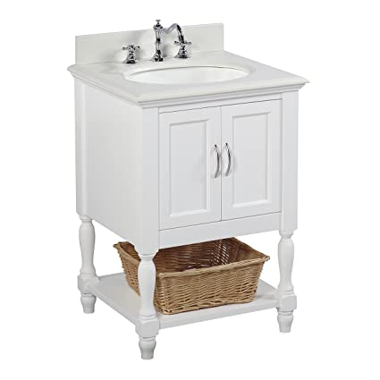 Beverly 24 Inch Bathroom Vanity (Quartz/White): Includes A White Quartz