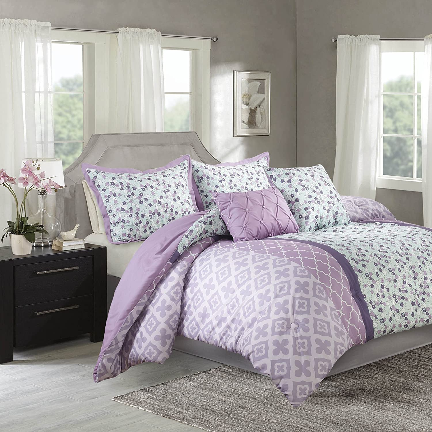 Amazon Com Comforter Sets For Teen Girls Purple Bedding Full Queen Twin Adorable Lavender Mint Green Bedspread Reversible Set Bundle Includes Sleep Mask From Designer Home Twin Home Kitchen
