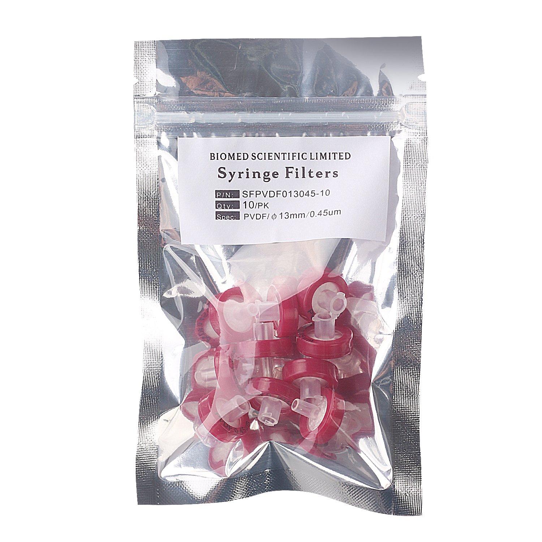 B06XX1ZKYG Syringe Filters PVDF (Polyvinylidene Fluoride) 13 mm Diameter 0.45 um Pore Size Non Sterile Pack of 10 pcs … 81aBOWlyymL