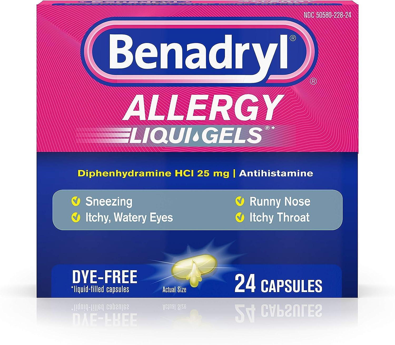 Benadryl Liqui-Gels Antihistamine Allergy Medicine & Cold Relief, Dye-Free Liquid Gels, 24 ct ( Pack of 6)