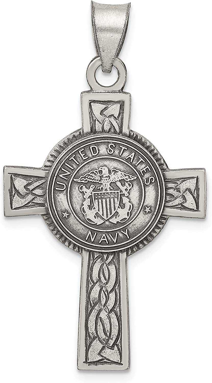 .925 Sterling Silver Solid Sating /& Antique Finish Irish Cross Pendant